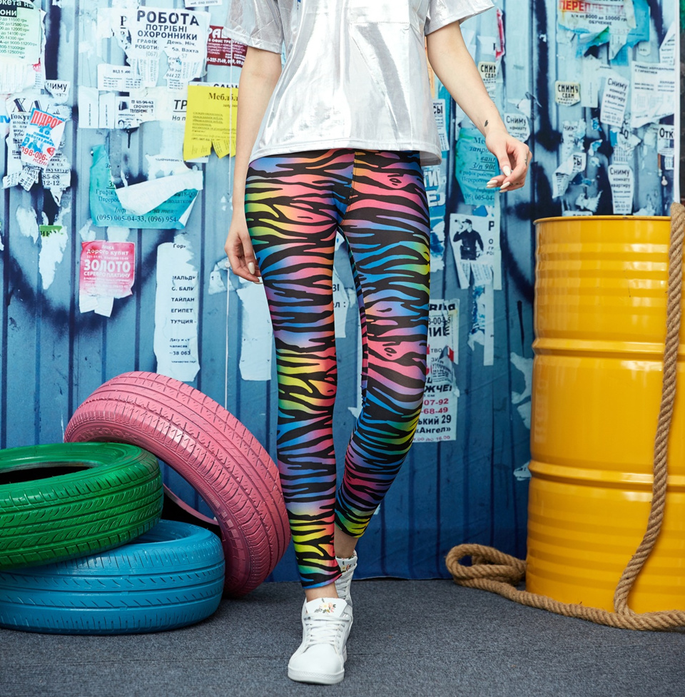 INITIALDREAM New 2020 Leggings Women Multicolor Zebra Stripe Print Elastic Leggins Thin Sexy Female Legging