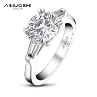 AINOUSHI Classic 925 Solid Sterling Silver 2 Carat Round Cut 3 Stone Ring for Women Wedding Engagement Ring Band