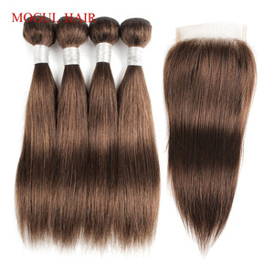 Image 5 - MOGUL HAIR 50g/pc 4 Bundle with Closure Honey Blonde Bundles With Closure T 1B 27 Brazilian Straight Ombre Non Remy Human Hair