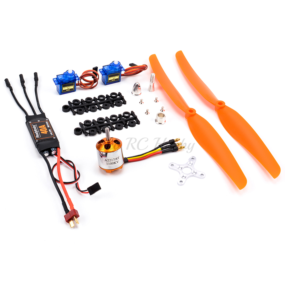 NEW A2217 <font><b>2217</b></font> 1100KV 1250KV 2300KV Brushless Motor 40A ESC SG90 Servo 6035 8060 1060 Prop for RC High Speed Fixed Wing Aircraft image