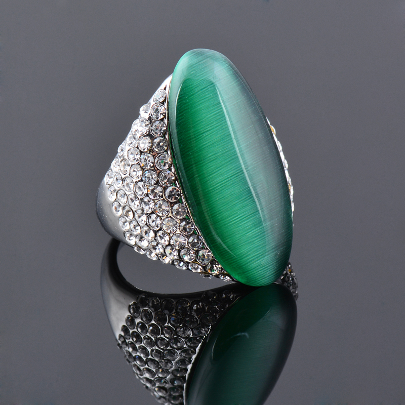 Women Luxury Big Green Opal Stone Ring - Silver Color Vintage Jewelry - i Love Fashion 365 - Zovasa