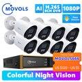 Movols 1080P AI красочная система ночного видения CCTV H.265 + наружный водонепроницаемый комплект видеонаблюдения 8CH DVR комплект камеры безопасности