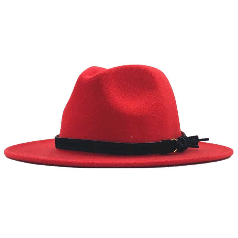 Hitam Merah Patchwork Wol Merasa Jazz Fedora Topi Sabuk Gesper Dekorasi Wanita Unisex Topi Panama Trilby Topi Koboi Sunhat 600CM
