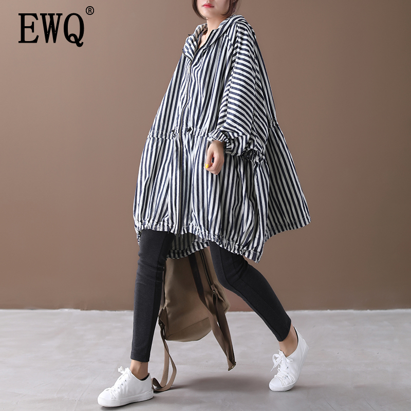 [EWQ] 2019 Autumn New Pattern Office Lady Style Full Sleeve Loose Vertical Striped Pattern Drawstring Hooded Collar Coat AF889