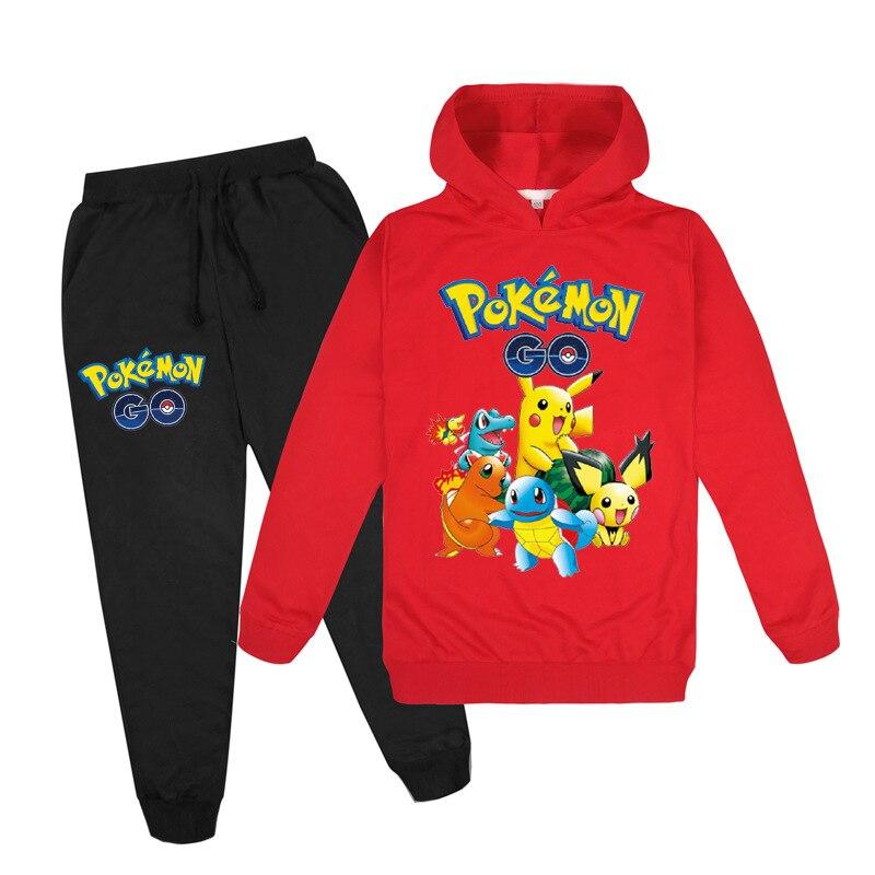 Пикачу Детский костюм из кофти и штанов куртка на каждый день для мальчиков и девочек с длинными рукавами в стиле Pokemon хлопковые толстовки с ...