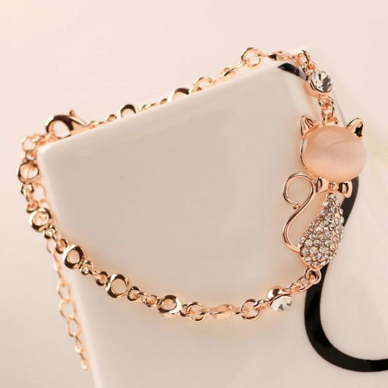 2020 модный браслет из сплава розового золота с изображением милого кота, подарок для женщин и девочек, ювелирные изделия, браслет с шармами и ...