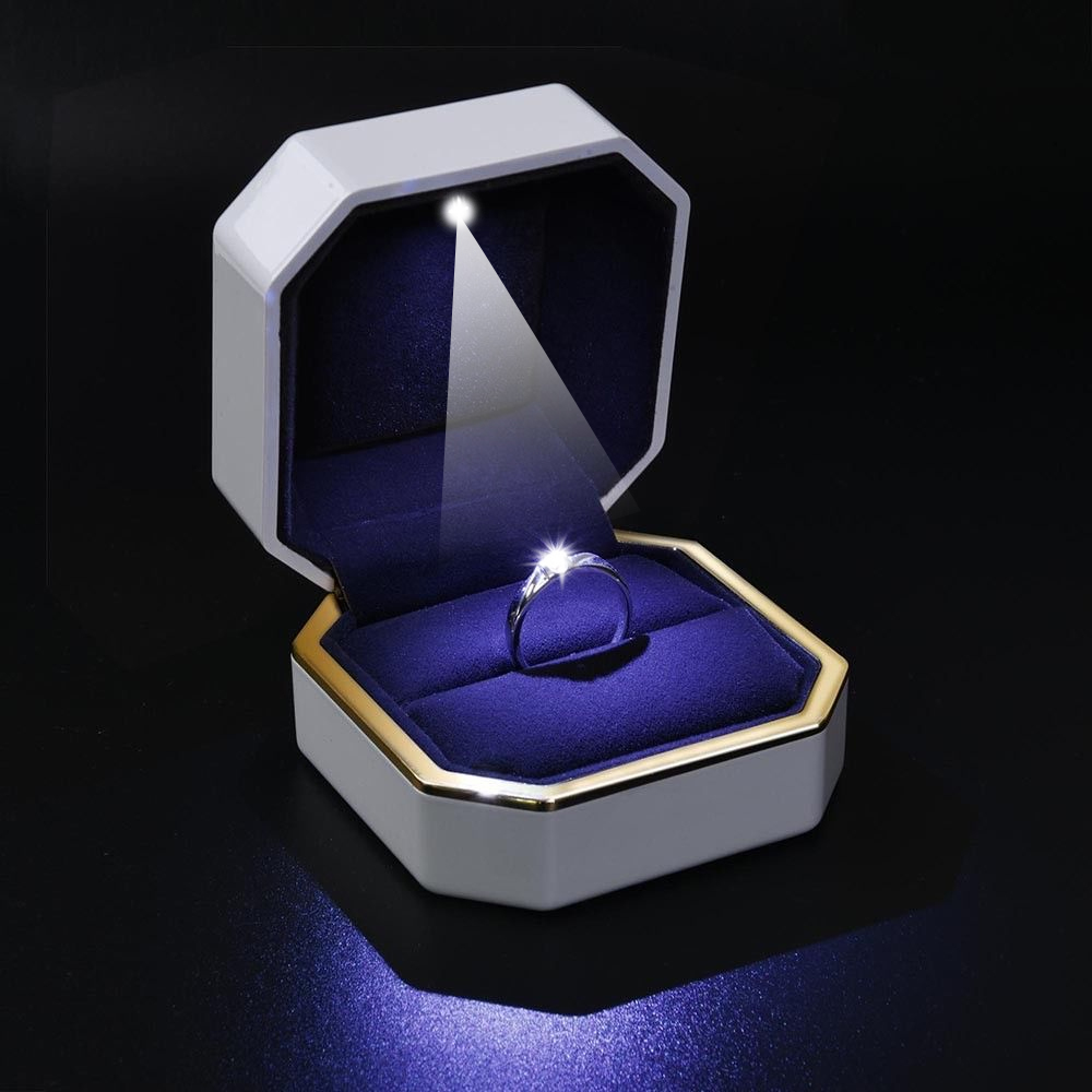 Wedding Ring Box LED Lighted Deluxe Velvet Jewelry Gift Engagement Display Storage Foldable Valentine's Day Gift Organizer Boxes