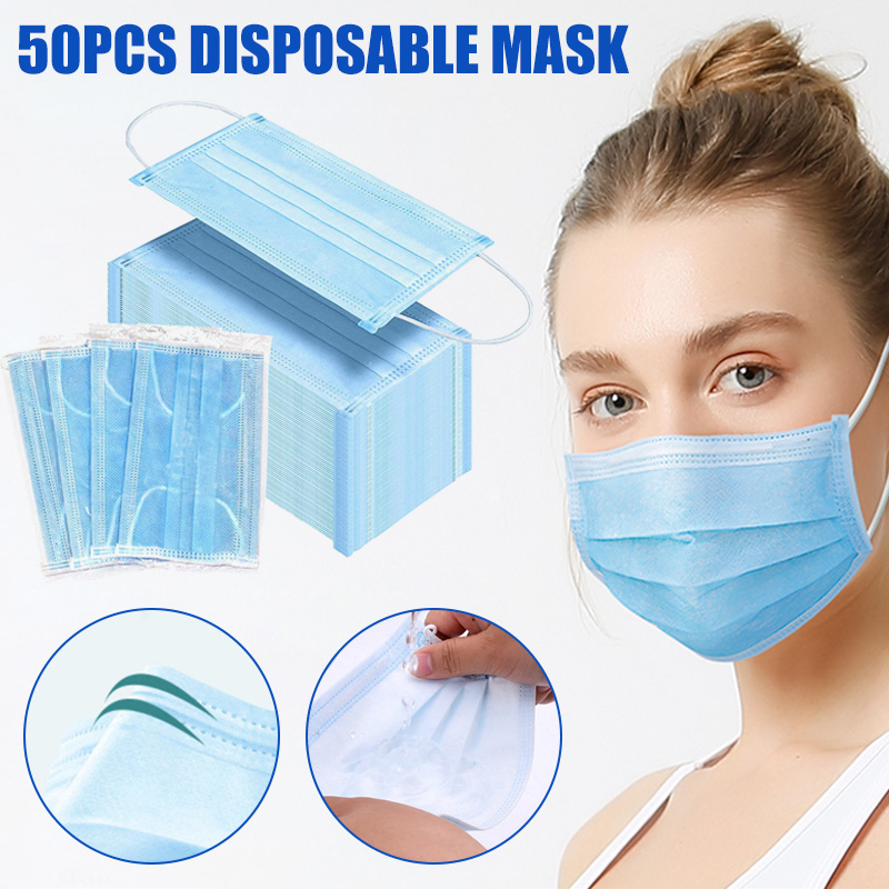 50pcs 3 Layers Mask Dust Protection Face Masks Disposable Breathing Filter Earloop