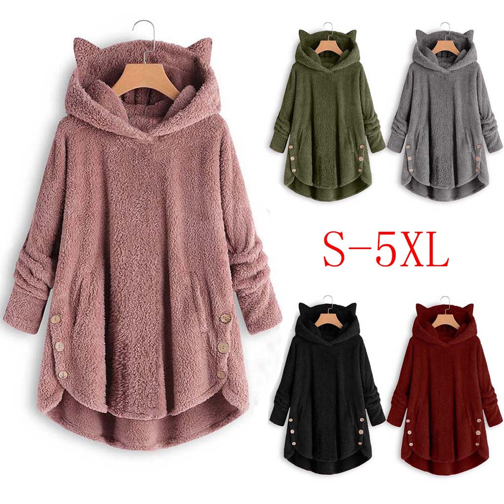 2020 ropa mujer hoodies women Button Coat Solids Hooded Pullover Loose  Plus Size bluza damska sweat a capuche femme