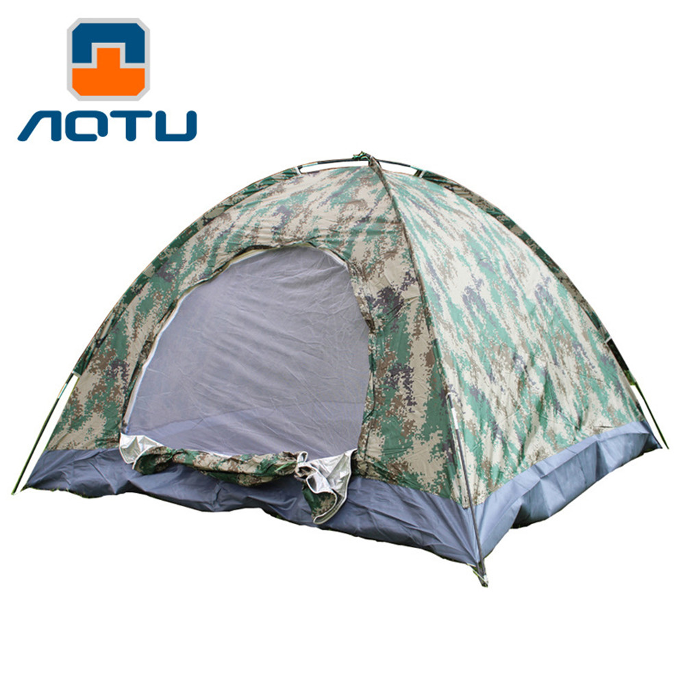 Camouflage Hiking Tent Camping Outdoor Sleep Tents Patchwork Families 3-4 Persons Travel Rest Sleeping Tents Outdoor Camping image