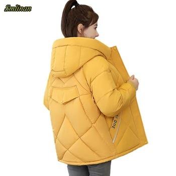 Smlinan Winter Short Parka Women Thick Warm Cotton Padded Hooded Jacket Women Plus Size 3xl Print Letter Hoodies Coat Female plus size letter print pocket design coat