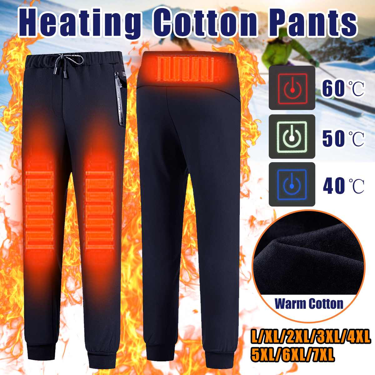 Men Women Heating Pants New Warm USB Electric Heated Sport Winter Fleece Trousers For Outdoor Trekking Camping Hiking