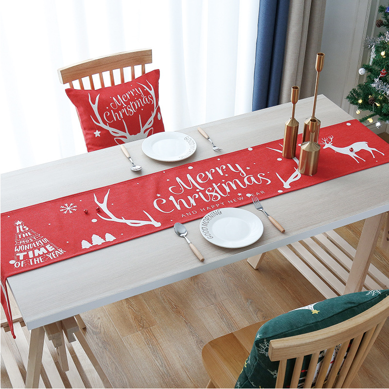OHEART Christmas Table Runner Print Elk Small Tree Table Mat Insulation Mat New Year Decorations Christmas Gift Decor For Home