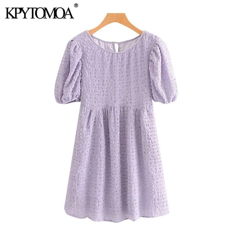 KPYTOMOA Women 2020 Sweet Fashion Puff Sleeve Pleated Mini Dress Vintage O Neck With Lining Female Dresses Vestidos Mujer