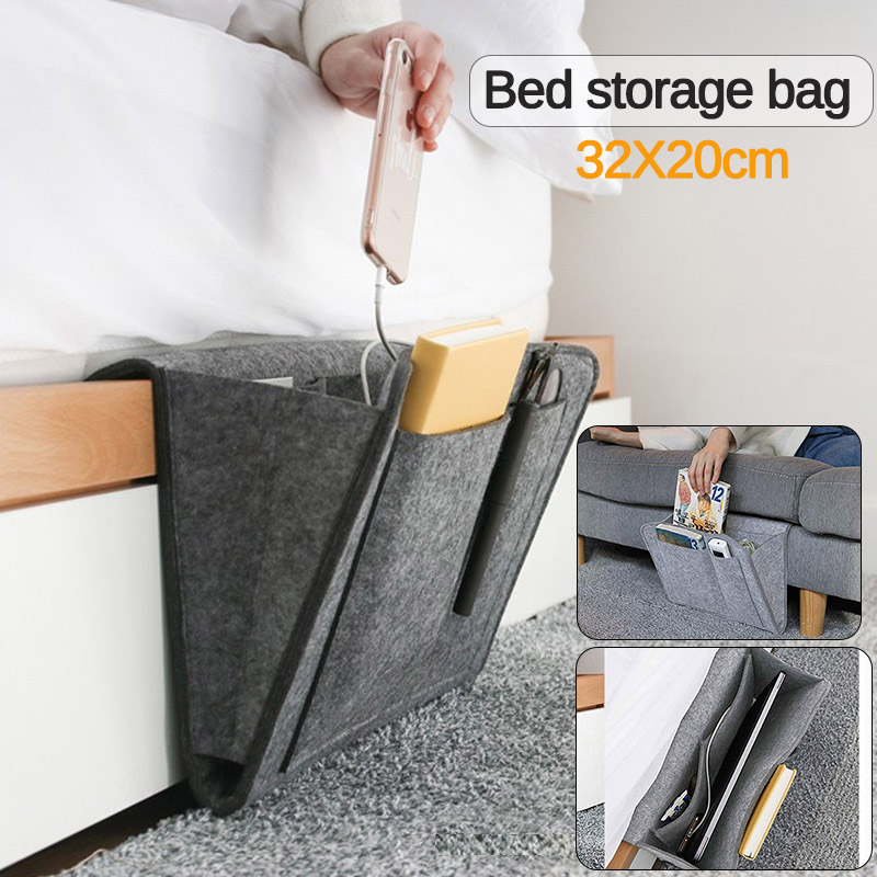 Felt Bedside Storage Organizer Bed Desk Bag <font><b>Sofa</b></font> Side TV <font><b>Remote</b></font> Control Hanging Caddy Couch Storage Organizer Holder <font><b>Pockets</b></font> image