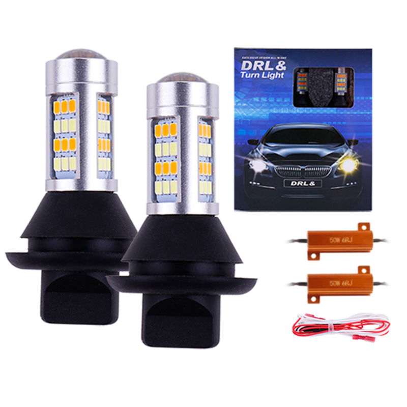 50sets Super Bright 1156 P21W BA15S 5730 SMD LED Bulbs White Amber Switchback Kit Car Turn