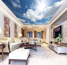 все цены на Photo Wallpaper Living Room Bedroom KTV Ceiling Murals Wallpaper  blue sky white clouds sun mural background онлайн