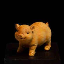 Pig Animal Ornaments Boxwood Carvings, Lucky and Pig Creative Crafts Lovely Zodiac Solid Wood Tea Pet Ornaments Miniature(China)