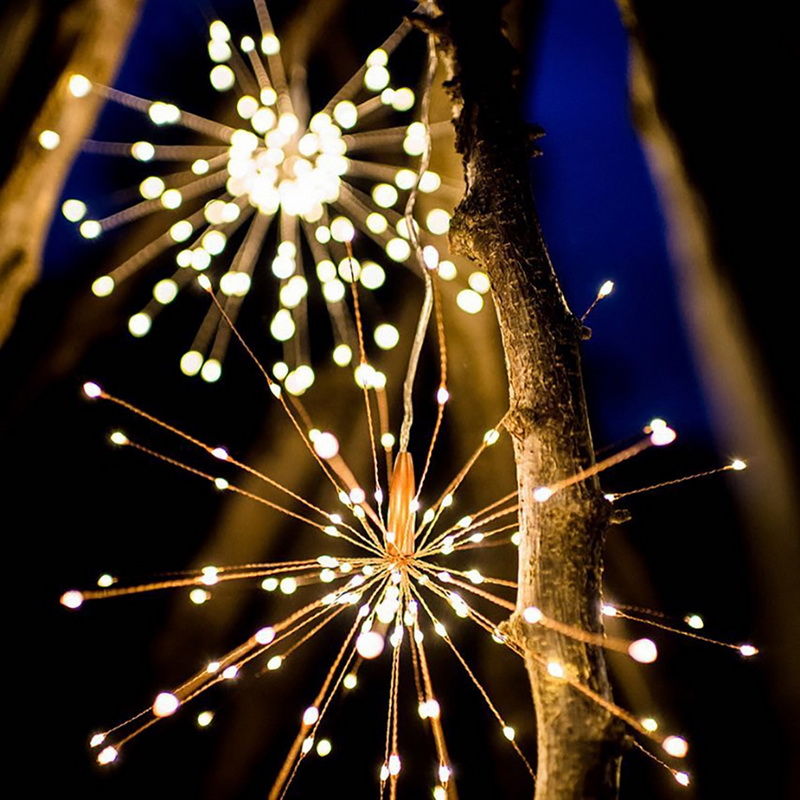 Solar Powered Hanging Fireworks String Light Two Styles 200 Leds Outdoor Waterproof   Fairy Christmas Decoration Twinkle Lamp