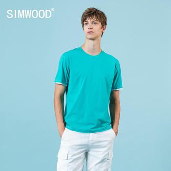 SIMWOOD 2020 summer new t-shirt men fashion fake double layer contrast color tops casual 100% cotton breathable tees SJ150069 - discount item  49% OFF Tops & Tees