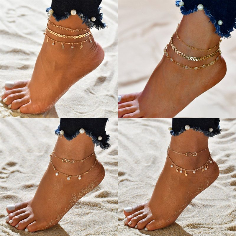 WUKALO Female Heart Anklets Barefoot Crochet Sandals Foot Jewelry New Ankle Ankle Foot Anklets Bracelets For Women Leg Chain