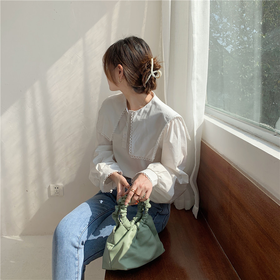 H6d8f85107f724d22aca14049f4899ffas - Spring / Autumn Puritan collar Long Sleeves Solid Blouse