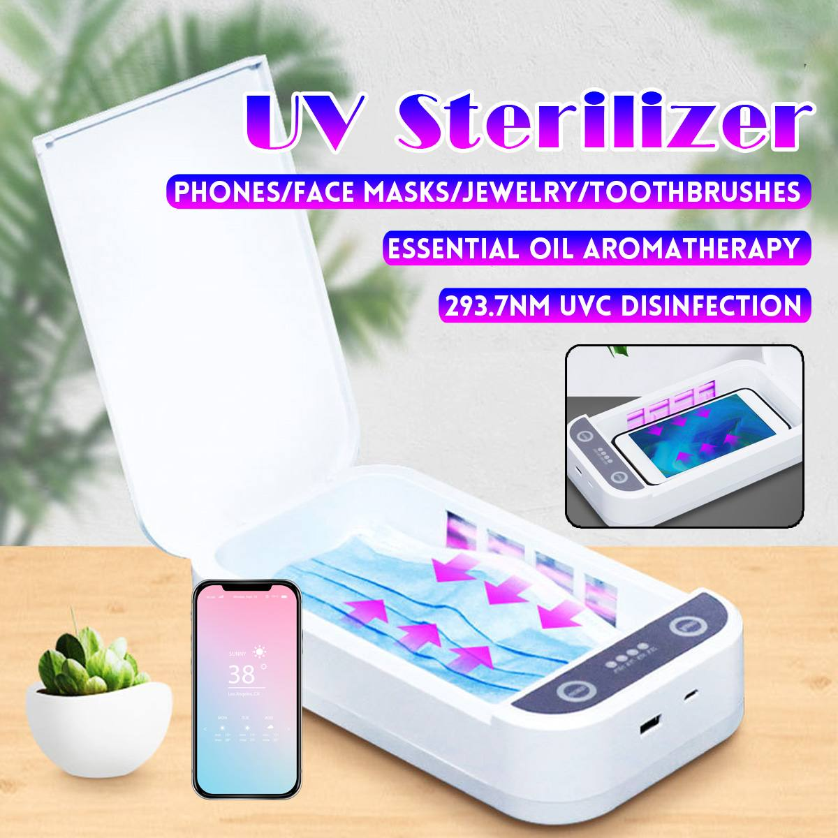 5V UV Disinfection Box Sanitizer Charger Prevent Flu For Mobile Phone Headphones Mask Sterilizer Kill 99.9% Viruses
