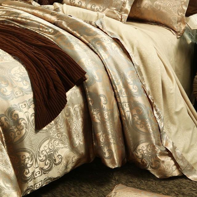 Ensemble de literie Jacquard de luxe J1   Housse de couette taille roi, lin, couette pour lit, housse de couette dorée de haute qualité pour adultes