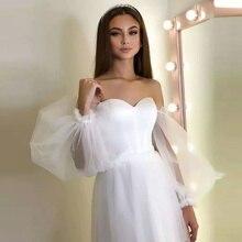 Sexy Heart-shaped Collar Bubble Sleeve Short Wedding Dress 2021 New Wedding Dress
