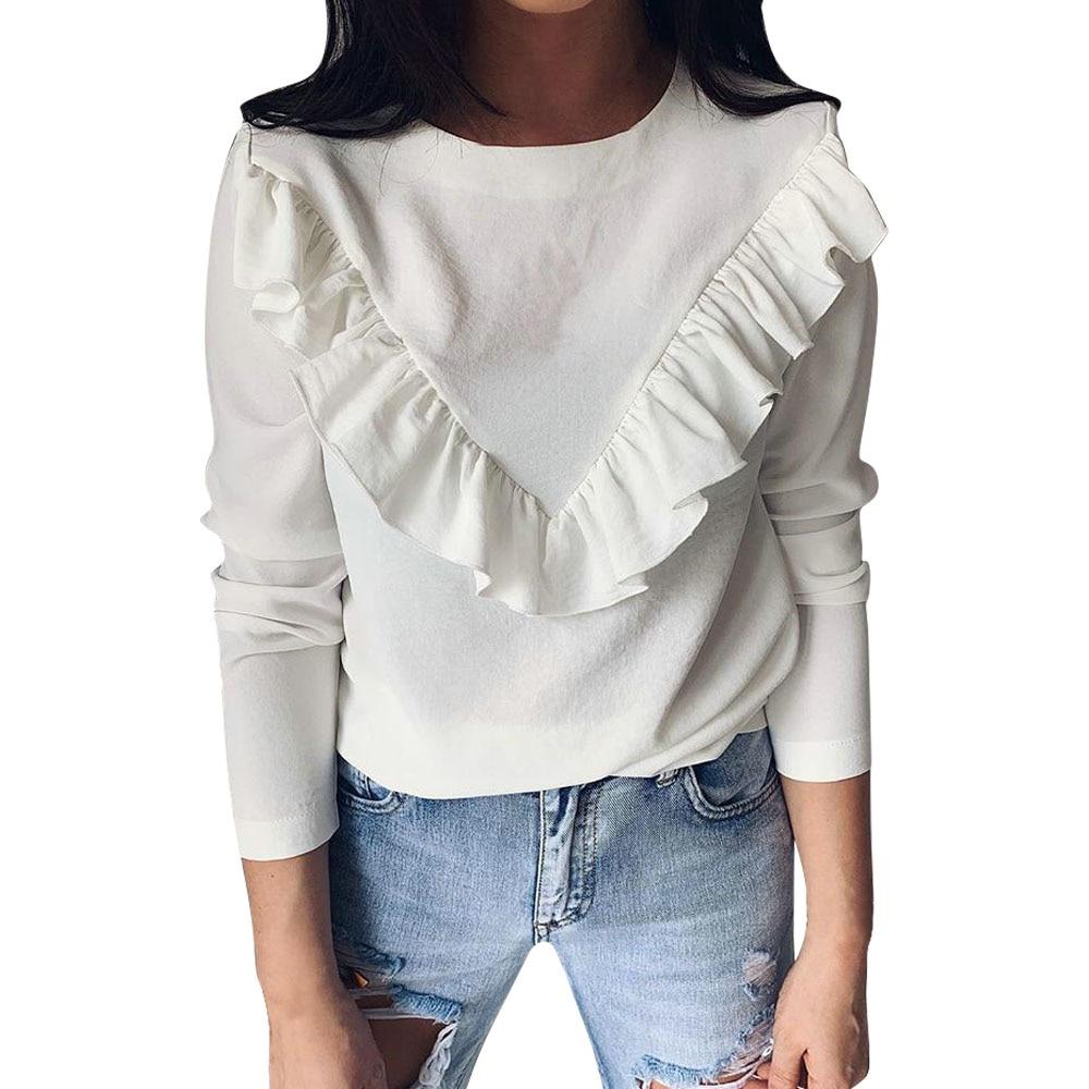 Ruffles T Shirt Women Long Sleeve Streetwear T-Shirts Tops Casual Solid O-Neck Tee Top Female Clothing 2019 Fashion De Mujer