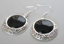 "925 Sterling Silver Hook Natural Black Natural Stone Onyx Coin Beads Earrings 2""(China)"