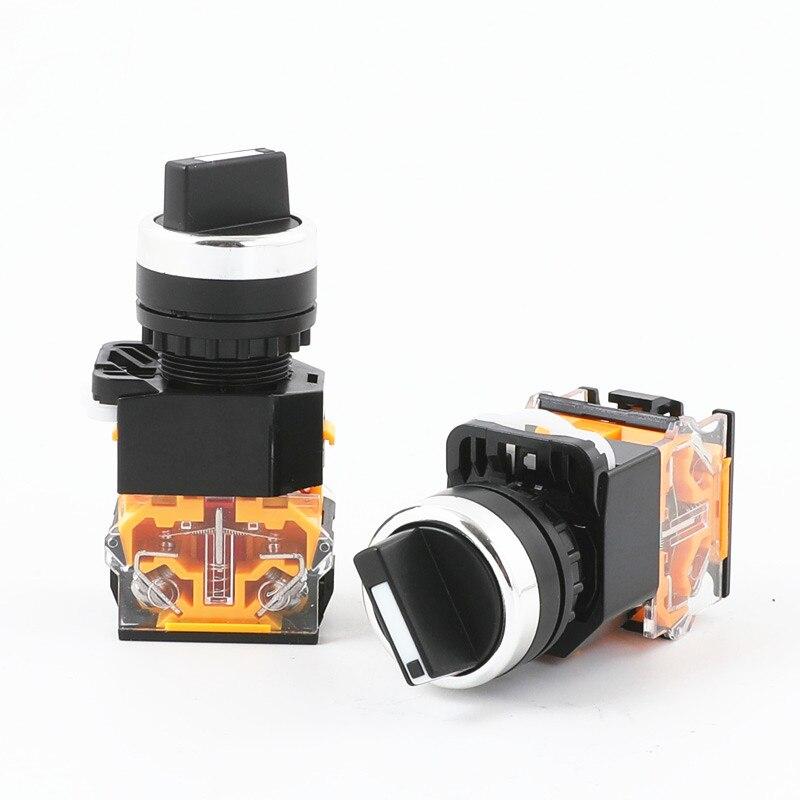 1pc 22mm Self-locking/Self-reset Knob Switch LA38-11X2 20X3  2/3 Positions Rotary Switches 4 Screws 10A400V Power Knob Switch