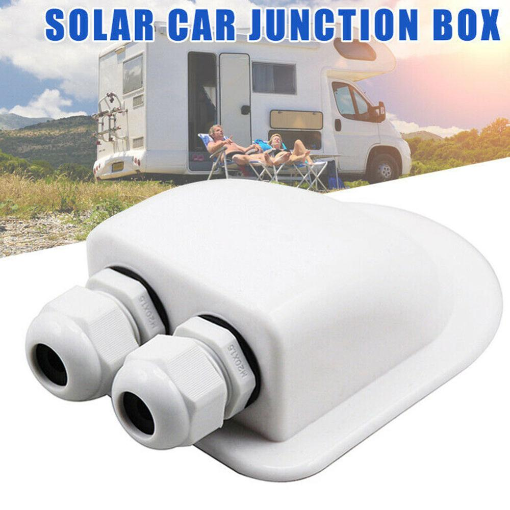 Double Wire Entry Gland Box Solar Panel Roof Wire Entry Gland Box Cable Motorhome White Double Hole RV Yacht Car Accessories