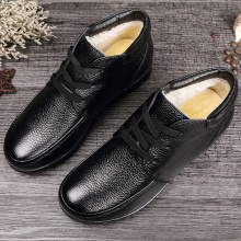 Womens boots Genuine leather Hook loop Soft Ankle for women Fashion Rubber Black Warm Winter shoes woman Chunky Antiskid