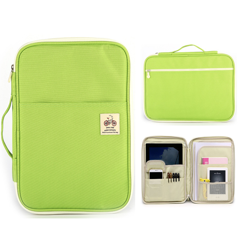 A4 File Folder Multifunctional File Bag Zipper Storage Bag Portable IPad Computer Bag Waterproof Oxford Cloth Office Information