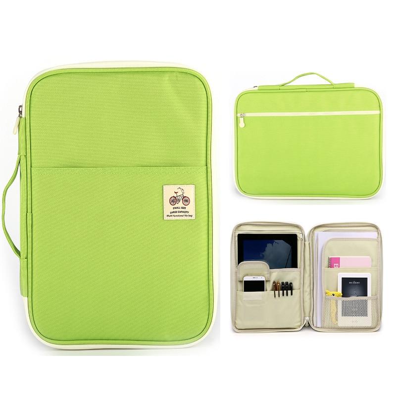 A4 File Folder Multifunctional File Bag Zipper Storage Bag Portable IPad Computer Bag Waterproof Oxford Cloth Office Information