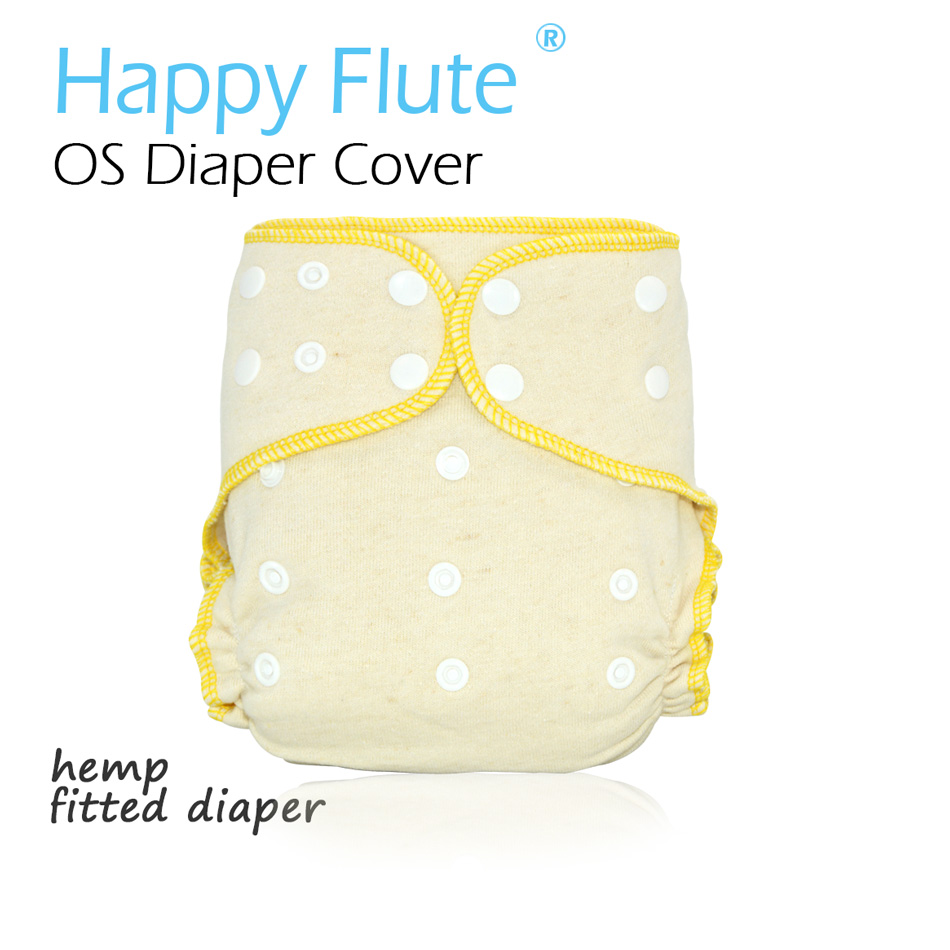 HappyFlute OS Hemp Fitted Cloth DiaperAIO each diaper with a snap insert high absorbency fit baby 5-15kgs