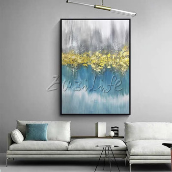 Modern Abstract Gold Blue Gray Black White Hand Painted Painting Acrylic Large Wall Art Pictures Canvas Painting Home Decor