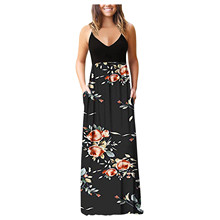 Maxi Dress Pockets Summer V-Neck Long-Strap Party Elegant Women with Evening-Party-Robe