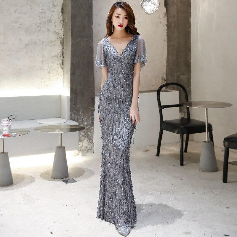 Vestido De Festa Cocktail Dress Evening Dress Female 2020 New Noble Temperament Elegant Tail Long High-end Socialite Host Party