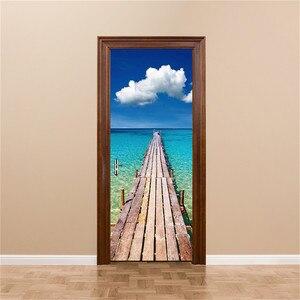 Image 4 - 3D Door Decoration Wallpaper Modern Design Door Sticker Self adhesive Waterproof Poster Home Door Renew Mural Decal deur sticker