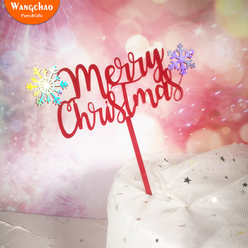 New Creative Double Layers Snowflake Merry Christmas Acrylic Cake Topper Decoration Xmas Party Supplies