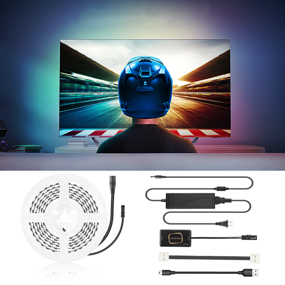 USB Ambilight TV <font><b>PC</b></font> Screen <font><b>LED</b></font> Backlight 5050 RGB <font><b>Led</b></font> Strip Light Kit 1M/2M/3M/4M/5M Color Changing Strips Dream Color Monitor image