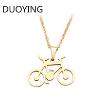 DUOYING Stainless Steel Necklace For Women Man Classic Bicycle Gold And Silver Color Choker Pendant Necklace Engagement Jewelry(China)
