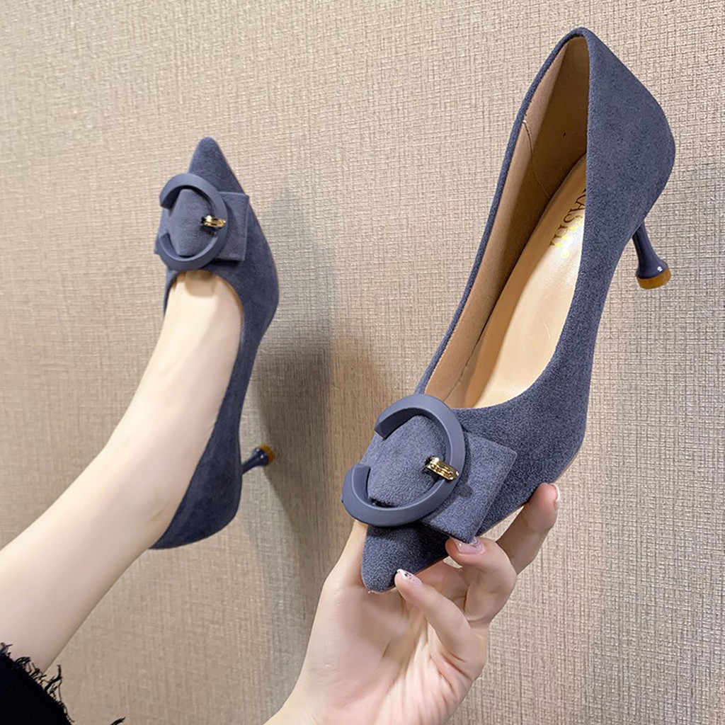 ankle boots for women round toe 2020 Fashion Pointed Toe High Heels Women Wild Stiletto Suede Hollow Sandals#3