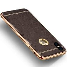 Luxury Gold Plating Leather Case for iPhone 11Pro XS MAX XR X 8 7 Plus 6 6S Plus 5 5S SE iPhone 11 Pro Max Phone Back Cover Capa(China)
