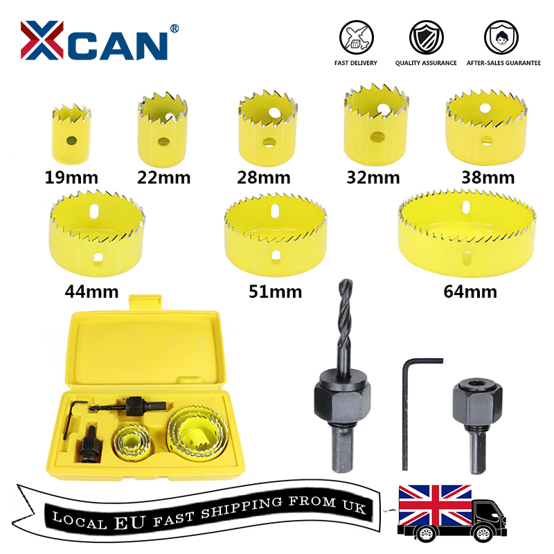 XCAN 11pcs Hole Saw Drill Bit Woodworking Cutter  19-64mm Hole Saw Cutting Set Core Drill Bit Wood Metal Drilling