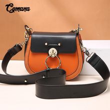100% Genuine Leather Bag for Women 2019 Small Crossbody Round Saddle Woman Black Ladies Messenger Shoulder