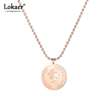 Lokaer Rose Gold Farbe Runde Münze Anhänger Halskette für Frauen Einfache Porträt Charme Halskette Dainty Geschenke N18236
