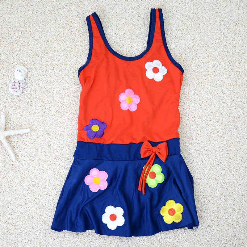 New Style GIRL'S Baby GIRL'S Swimsuit Children Princess Small CHILDREN'S Small Flower Infants One-piece GIRL'S Tour Bathing Suit